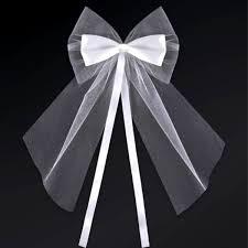 noeud tulle et ruban satin blanc décoration voiture mariage lot de 2 noeud en satin et tulles blanc pour votre voiture