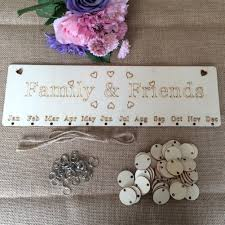 wood birthday reminder wall hanging plaque board sign diy family friend calendar 1 of 11 see more