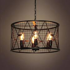 cage light chandelier industrial 6 with cylinder metal work