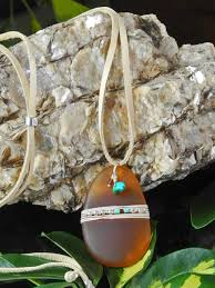 Roca Jewelry Designs Roca Jewelry Designs Large Linen Wrapped Amber Sea Glass
