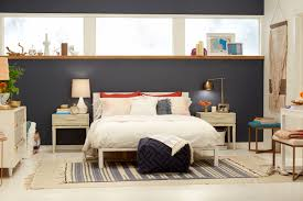target accent wall emily henderson bedroom blue bedding midcentury modern 3