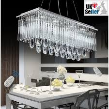 modern k9 crystal led rectangular pendant ceiling light chandelier remote control