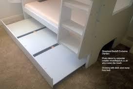 bunk beds with desk and trundle white wooden trundle