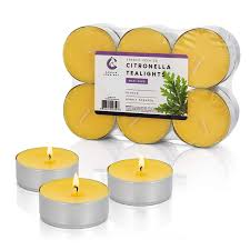 Citronella Candles Large Maxi Tea Lights In Metal Cups For Indoor Outdoor Use 10hr Burn Time Yellow Set Of 12 Made In Usa