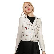 whole black pink leather jacket women classic badge high end quality short motorcycle with belt chaquetas de cuero mujer bt80241 motorcycle winter