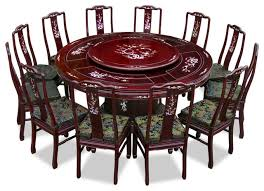 72 rosewood pearl inlay design round dining table with 12 chairs asian dining sets