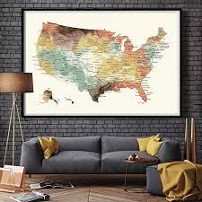 Large Us Map Poster Amazon Com Us Map Push Pin Wall Art Poster Print Usa