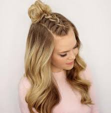 the half up messy bun with braid last but not least this hairstyle is