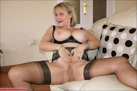 Finfering blonde mature lady