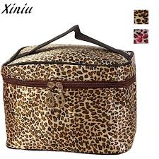 cosmetic bag leopard print leather zipper large makeup box women travel makeup wash bag bolsa para