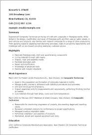 1 Composite Technician Resume Templates Try Them Now Myperfectresume