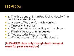 unit comparison contrast ppt  the decisions of little red riding hood v the decisions of