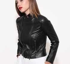 biker leather jacket for woman black