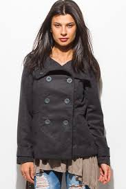 cute charcoal gray long sleeve double ted pocketed peacoat jacket