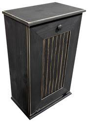 Large Kitchen Tilt Out Wood Trash Can Handmade In Pine (Black Old Look) Wood