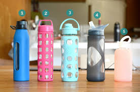 glass water bottle lineup