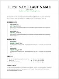 Free Microsoft Resume Template Custom Resume Templater Impressive 48 Basic Resume Templates Free Downloads