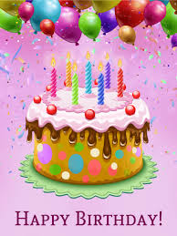 Colorful Happy Birthday Cake Card