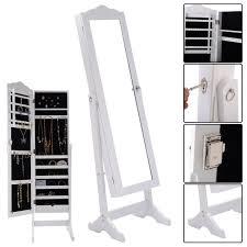 costway lockable mirrored jewelry cabinet armoire mirror organizer storage box w stand 0
