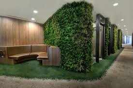 corridor feature wall using artificial green walls