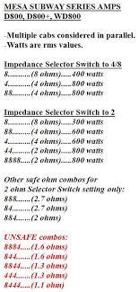 Mesa D 800 Impedance Question Talkbass Com