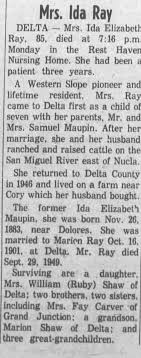 Obituary for Ida Maupin Ray (Aged 85) - Newspapers.com