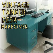 vintage mcm wood tanker desk paint furniture makeover teal turquoise home office