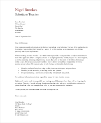 Substitute Teacher Cover Letter In Pdf Photo Gallery On Website
