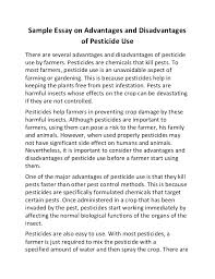 sample essay on advantages and disadvantages of pesticide use sample essay on advantages and disadvantages of pesticide use there are several advantages and disadvantages of
