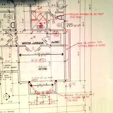 red lined house blueprint