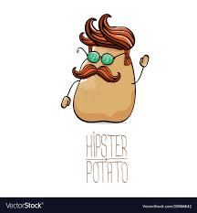 cute potato cartoon.  Cute Funny Cartoon Cute Brown Hipster Potato Vector Image In Cute Potato Cartoon W