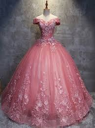 pink wedding gowns. Ball Gown Off the Shoulder Floor Length Pink Wedding Dress with
