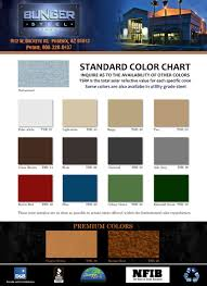 Bunger Steel Color Chart Color Chart Options Bunger Steel