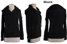 women hooded fleece double ted pea coat trench coat jacket ribbed hem