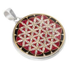 new flower of life sacred geometry gemstone pendant in sterling silver