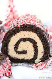 Chocolate peppermint bark roll cake recipe