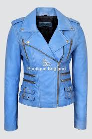 las blue crust biker style motorcycle designer napa leather jacket 7113