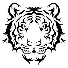 tiger head clip art black and white. Tigers Head Tribal Tattoo Design Black Isolated On White In Tiger Clip Art And