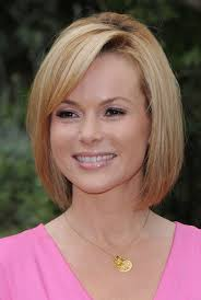 latest cute short straight bob hairstyle with bangs for women