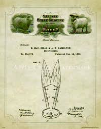 vintage sheep shears patent art print