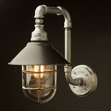 outdoor plumbing pipe wall shade lamp is a custom design for a wall lamp made from iron water pipe and cast ings