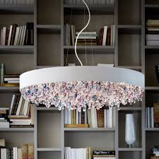 modern round coloured cut glass chandelier