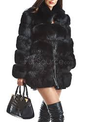 tiered black fox fur coat