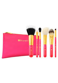 bh cosmetics neon pink 6 piece brush set with cosmetic bag bh784be17gswsg 1