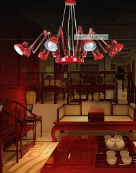 industrial lighting chandelier. Shopping Mall Large Red Black Metal Chandelier Exhibition Show Novelty Lighting Spider Industrial E27 Luces-in Chandeliers From Lights S