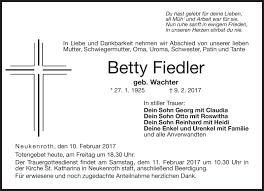 Traueranzeigen von Betty Fiedler   franken-gedenkt.de