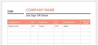 Sample Sign In Sheet Job Sign Off Sheets For Ms Word Word Excel Templates