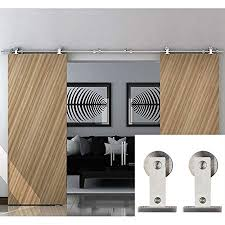 hahaemall clic stainless steel interior double sliding barn door hardware track roller wood door kit heavy
