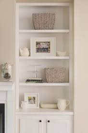 Home Design, Spectacular White Polished Minimalist Wooden Built In Shelves  With White Fireplace Mantle In