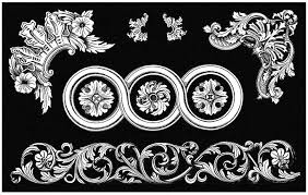 two borders and two corner ornaments with foliage design